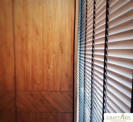 Venetian blinds wooden room