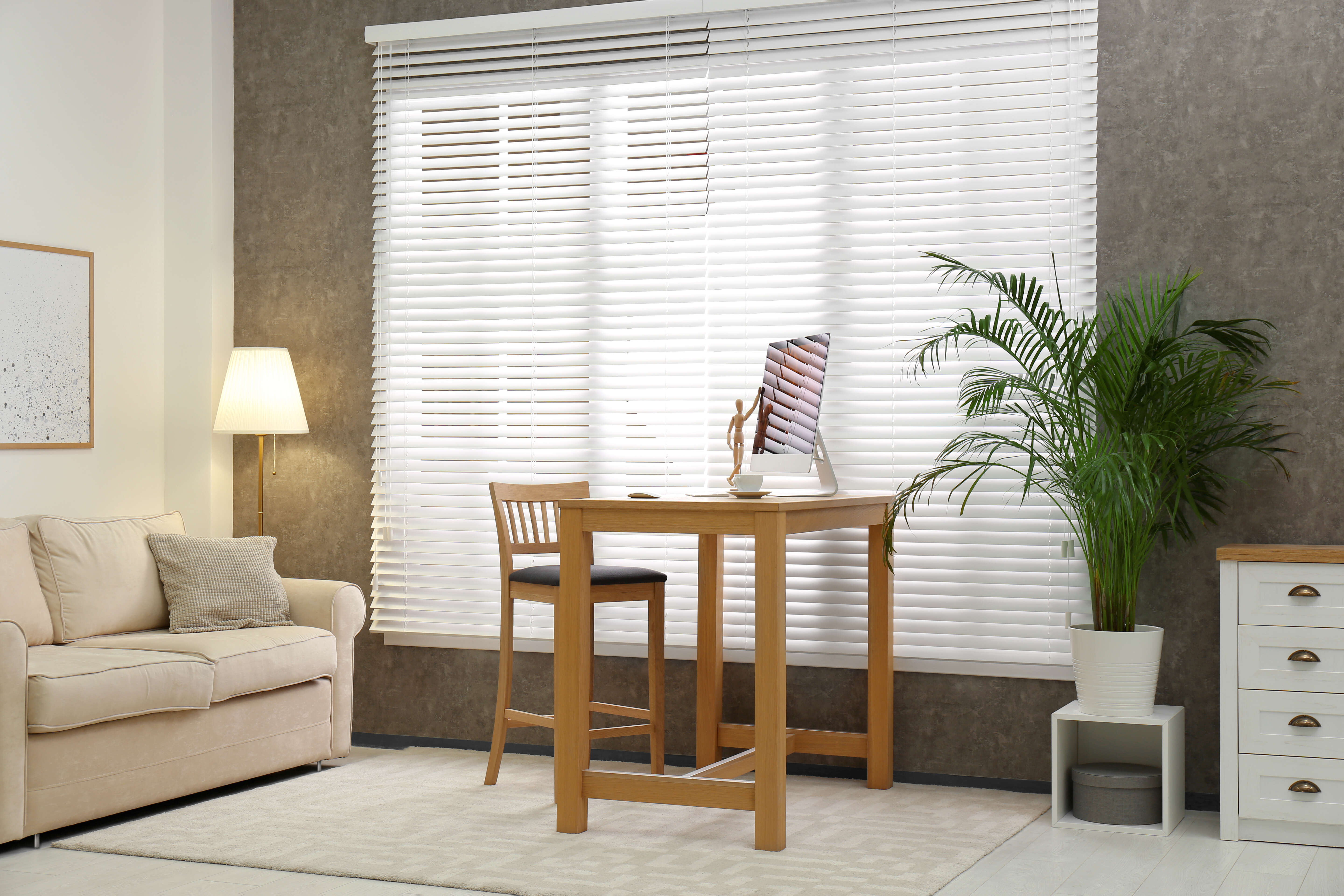 White blinds for window